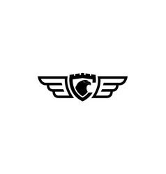 Vintage eagle head on shield and wings line logo vector