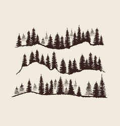Vintage engraving forest doodle sketch fir-trees vector