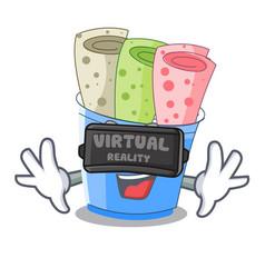 Virtual reality ice cream rolls at cups cartoon vector