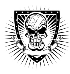 volleyball skull shield vector image