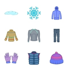 Warm clothes icons set cartoon style vector image