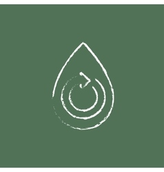 Water drop with circular arrow icon drawn in chalk vector image
