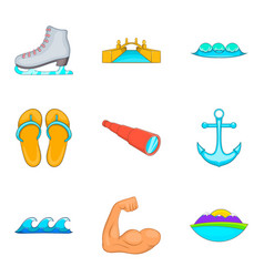 Water gymnastics icons set cartoon style vector