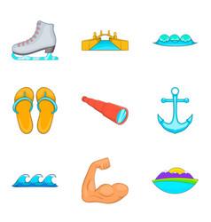 water gymnastics icons set cartoon style vector image