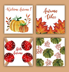 watercolor autumn cards with red orange yellow vector image