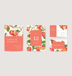 Wedding apple invitation card vintage autumn save vector