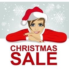 woman in santa hat leaned on blank board vector image