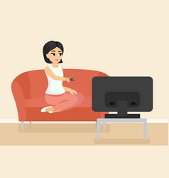 woman sitting on couch vector image