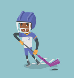 young african ice hockey player with a stick vector image