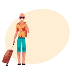 Young bald man in sunglasses and havaii shirt with vector