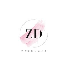 Zd z d watercolor letter logo design vector