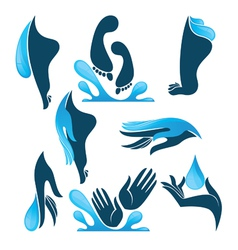 life in water clean hands and feet vector image vector image