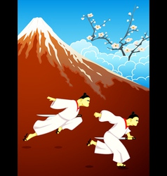 Running over Japan vector image