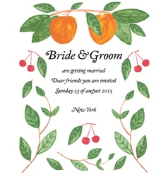 watercolor wedding invitation vector image