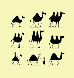 Camel set sketch for your design vector