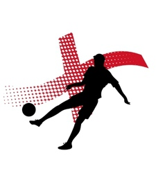 england soccer player against national flag vector image vector image
