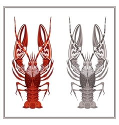 Isolated ornament crayfish in red and black color vector image