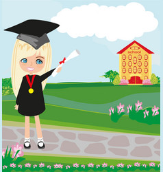 School-college graduation - girl vector
