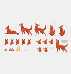 set for creating a dog animation of emotions vector image