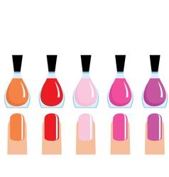 set of 5 nail polish vector image