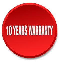 10 years warranty red round flat isolated push vector image