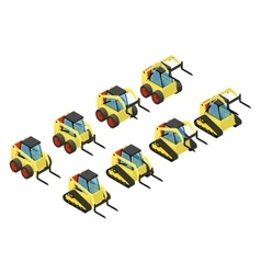 Collection of small yellow loaders vector image