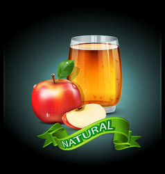 cup glass of apple juice with apple slices vector image vector image
