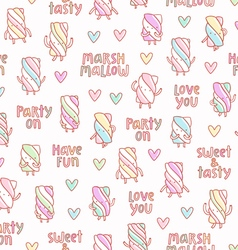 Funny marshmallow party pattern vector image vector image