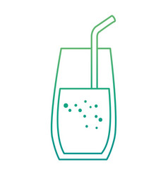 glass drink with straw vector image