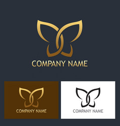 Gold butterfly beauty logo vector