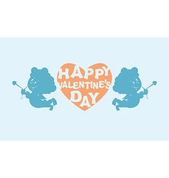 Happy Valentines day Heart and kupiony Little vector image vector image