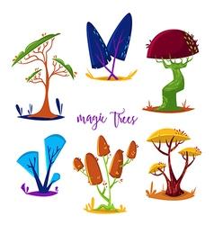 magic trees set cartoon elements vector image