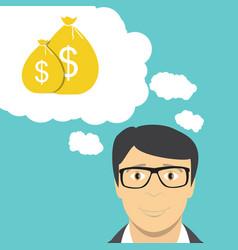 Man businessman thinks about money flat business vector