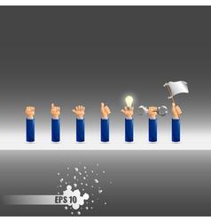 set of seven hand gestures vector image