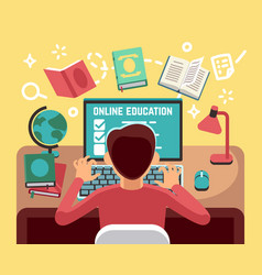 student or school boy studying on computer online vector image