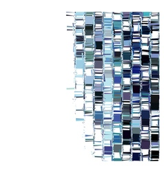 blue fragmented abstract pattern over white vector image vector image