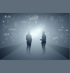 business people group silhouette team vector image vector image