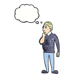 catoon curious man with thought bubble vector image vector image