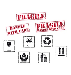 fragile rubber stamps vector image vector image