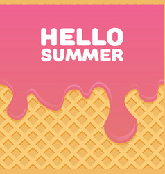 hello summer letters in ice cream pattern cream vector image