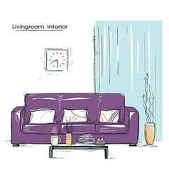 Livingroom interior place with couchHand drawn vector image