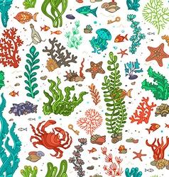 Seamless cartoon marine pattern vector image vector image
