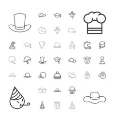 37 hat icons vector