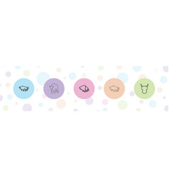 5 horned icons vector