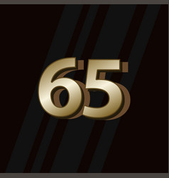 65 years anniversary gold elegant number template vector