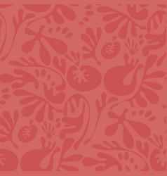 Abstract fantasy coral color floral motif vector