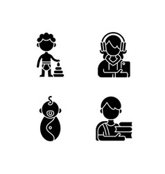 Aging process black glyph icons set on white space vector