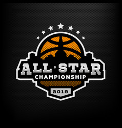All star basketball sports logo emblem on a dark vector