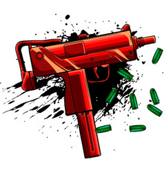 Army uzi weapon with bullets ad blood vector