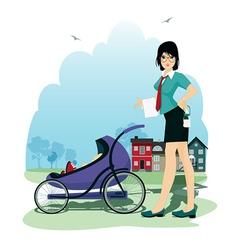Baby in stroller vector